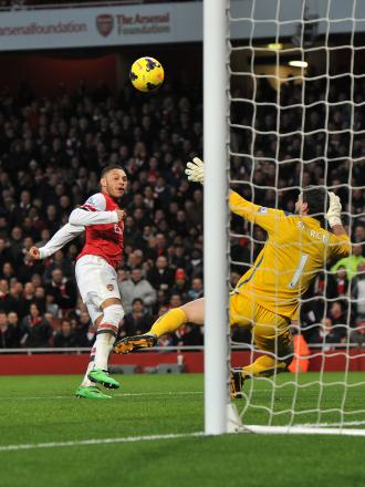 Julian Speroni can do nothing to prevent Alex Oxlade-Chamberlain firing the Gunners in front. PICTURE BY KEITH GILLARD.