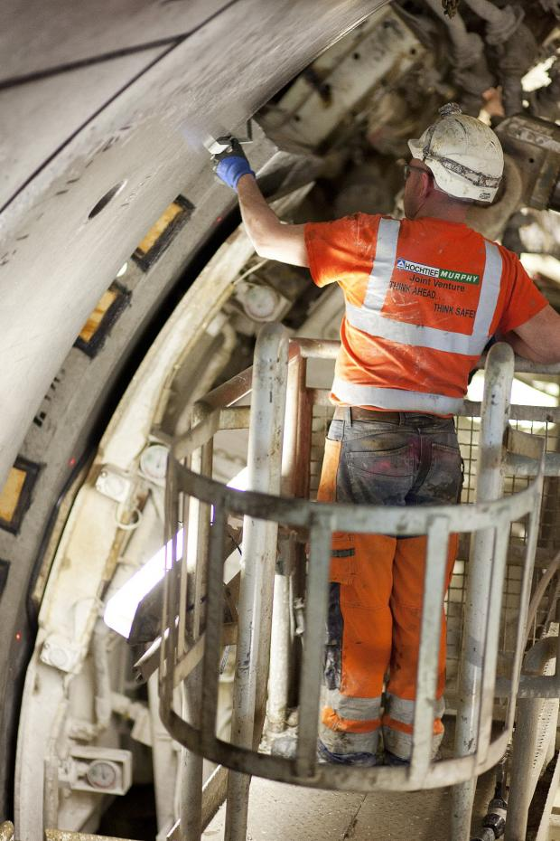News Shopper: A Crossrail workman in the tunnel carved by Sophia