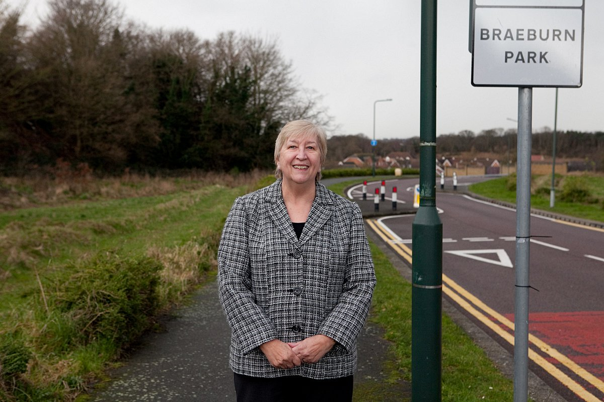 Cllr Linda Bailey at the site of the new conservation area in Braeburn Park.