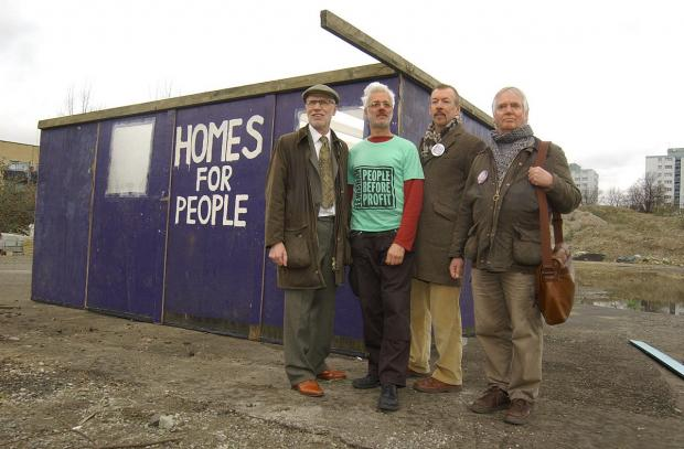 News Shopper: The house at Besson Street L-R Lewisham People Before Profit's George Hallam, John Hamilton, Ray Woolford and Jim Smith.