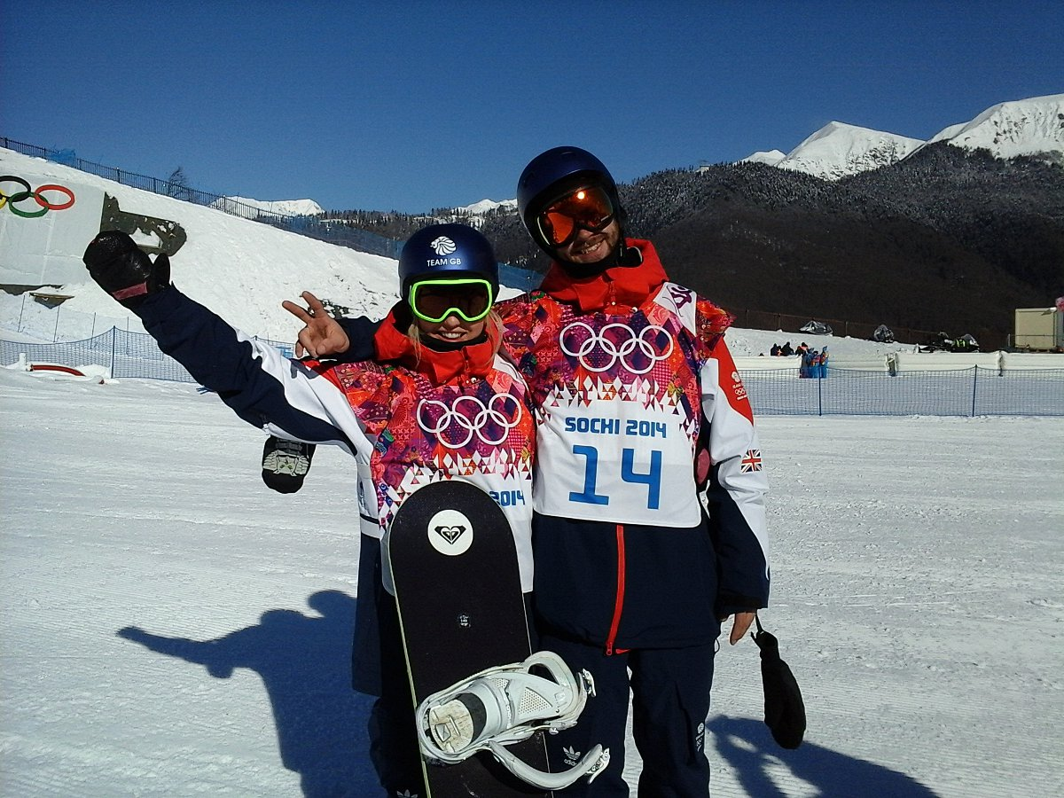 Aimee with fellow British snowboarder Billy