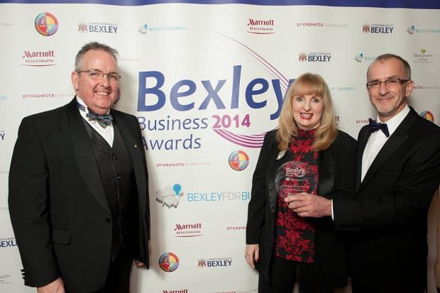 Bexleyheath Business Improvement District manager Ian Payne with Map Surveyors business development manager Jane Pilkington and director Graham Stephenson, Director