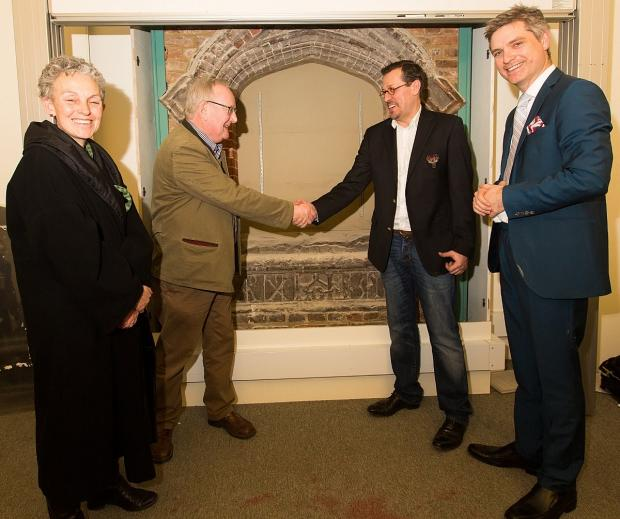 News Shopper: The unveiling of the stone at UCL, pictured L-R  Director of Museums and Public Engagement,UCL, Sally MacDonald, Dr Negley Harte, UCL, Chris Mazeika from Deptford Is community group and Dr Jonathan Foyle