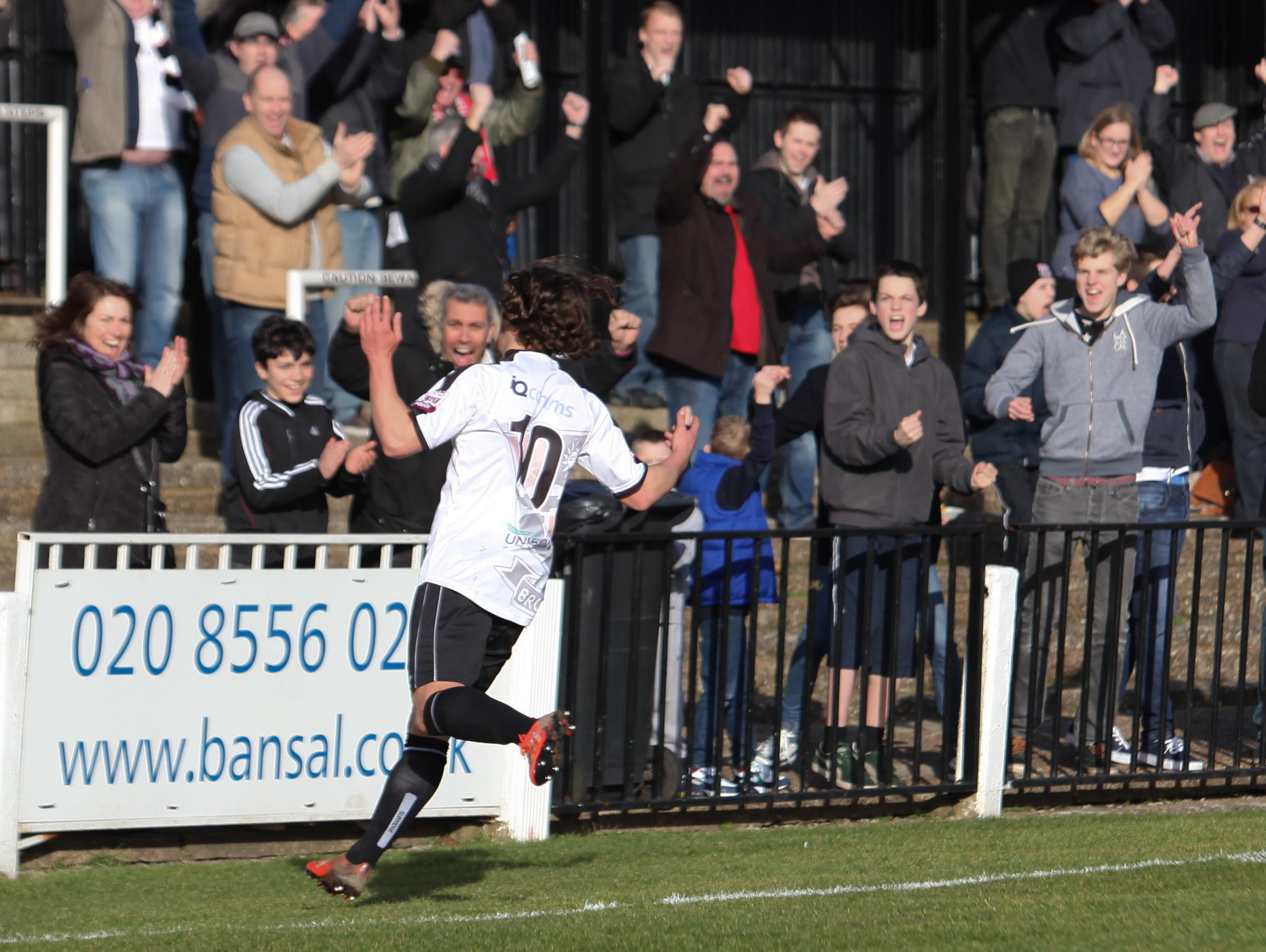 News Shopper: Bradley Goldberg celebrates the Lillywhites' opener