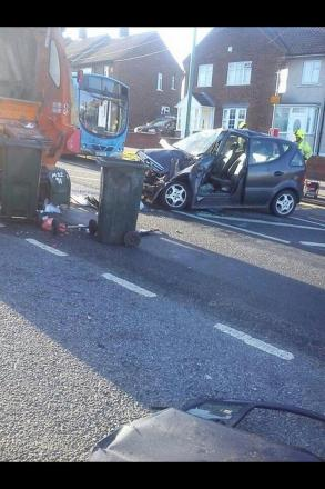 The wreckage of the Mercedes after it collided with the dustbin van yesterday morning (pic from Twitter by @JoSherwood21).