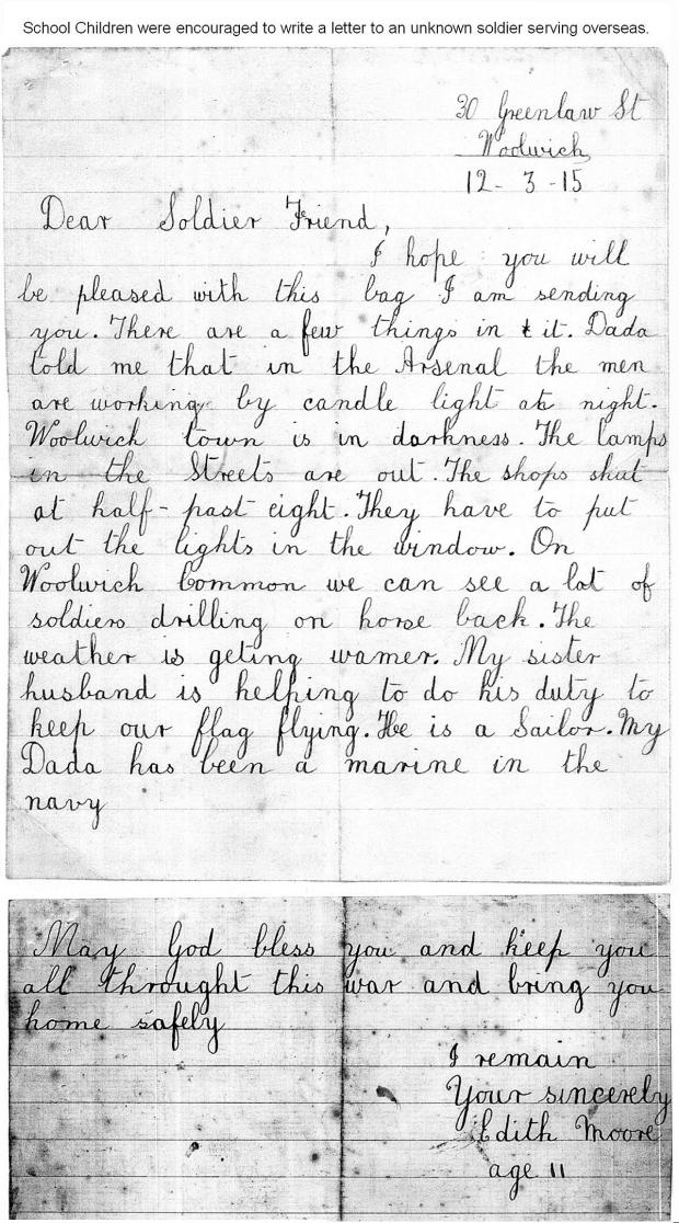 News Shopper: Edith Moore's letter written from Greenlaw Street on March 12 1915
