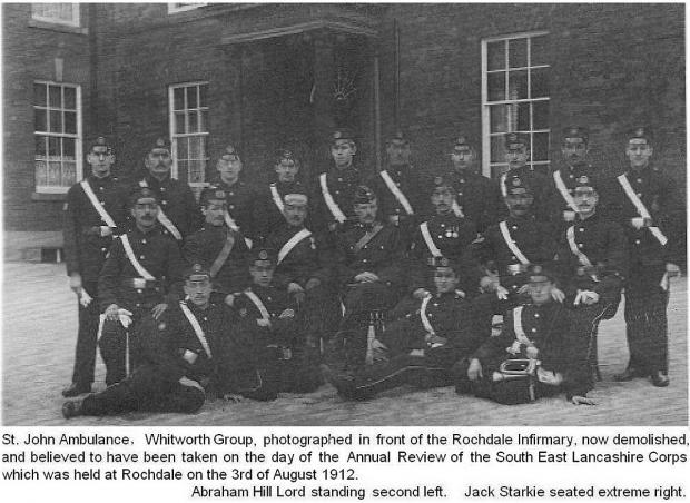 News Shopper: St John's Ambulance group in Rochdale on August 3 1912, Abraham Hill Lord pictured in back row second from left