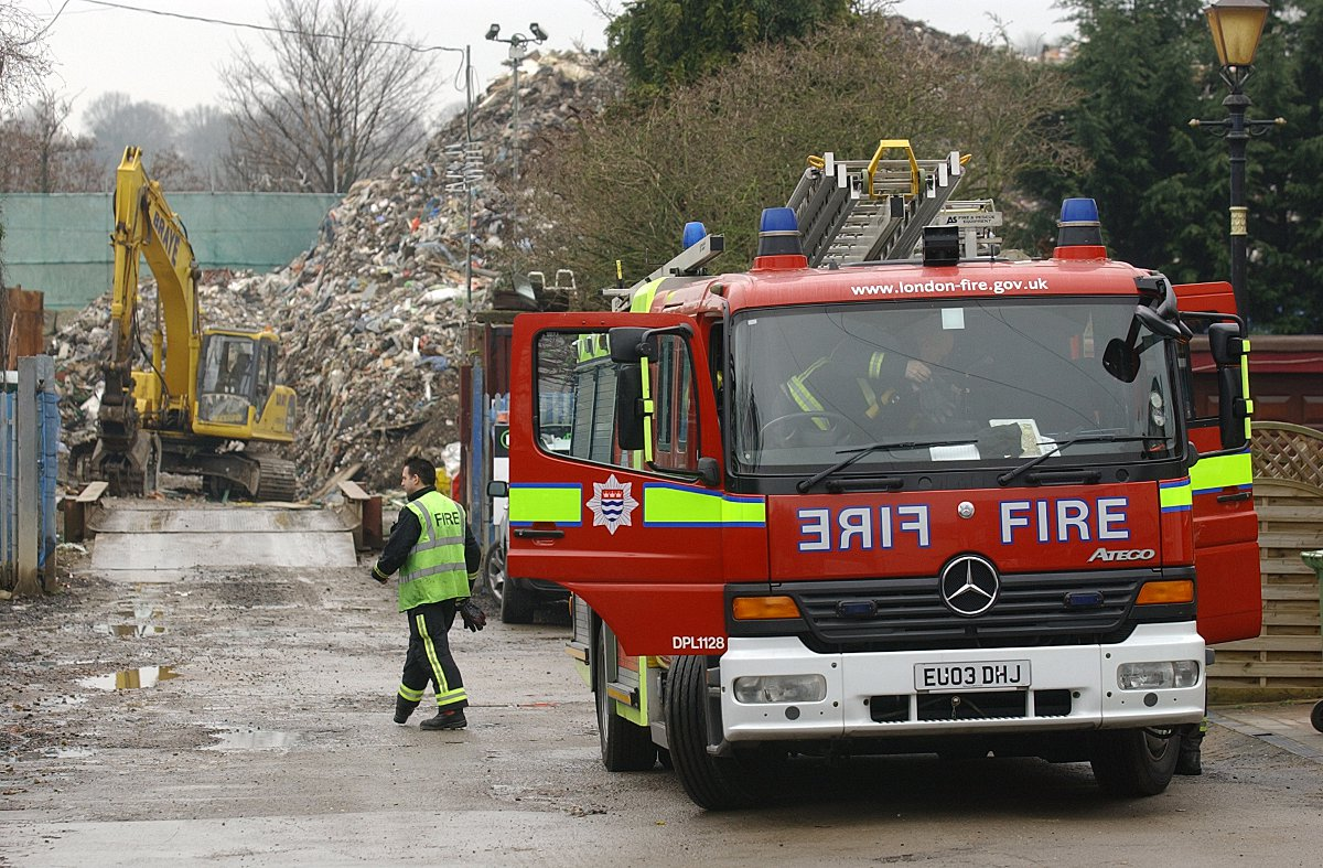Fire fighters attend the Waste4Fuel recycling plant in St Paul's Cray
