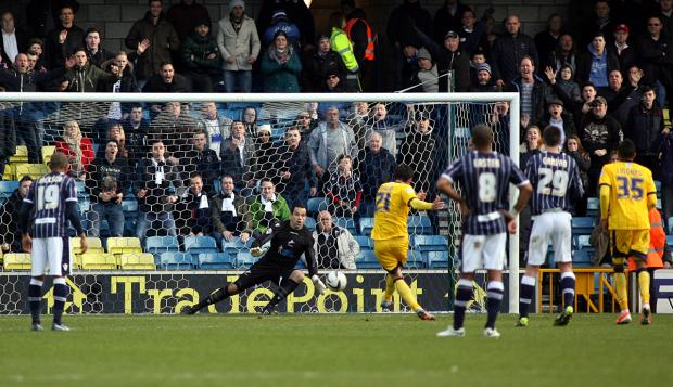 David Lopez sends David Forde the wrong way from the spot to make it 1-0 to Brighton. PICTURE BY EDMUND BOYDEN.