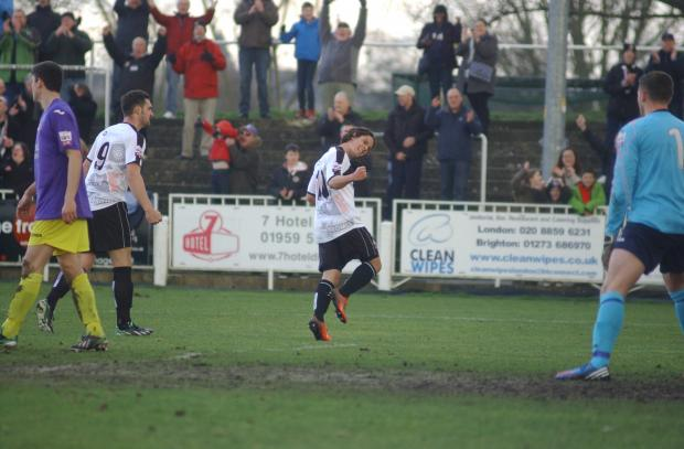Bradle Goldberg celebrates afetr scoring Bromley's equaliser