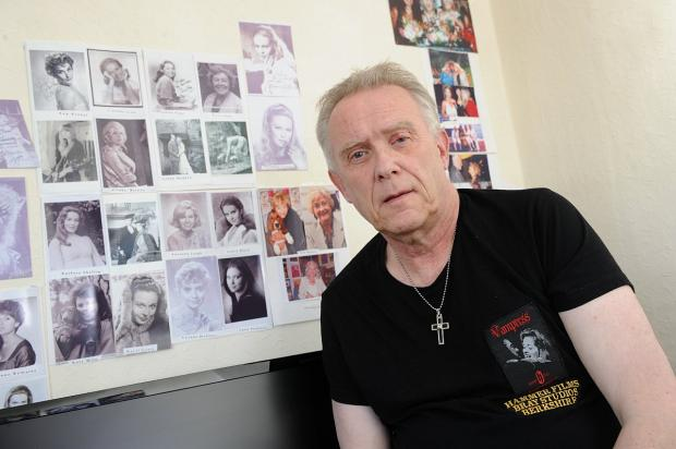 Thomas Maylott with some of his Hammer Films memorabilia.