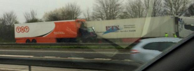 The two lorry collision has put one man in hospital (pic from Twitter by @markgosy).