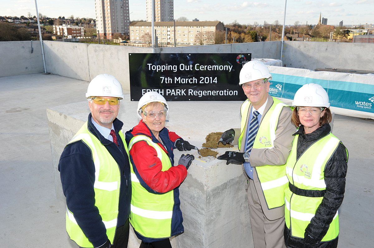 Erith Park £120 million housing development reaches new heights with milestone topping out ceremony