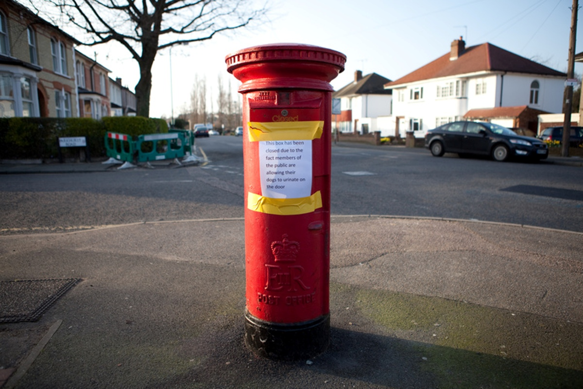 PICTURED: Bexley Village postbox closed because dogs keep peeing on the door