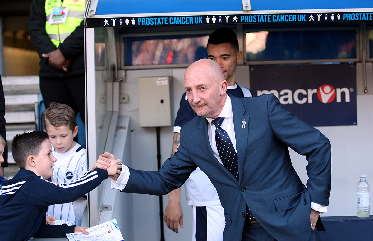 Ian Holloway meets a young Lions fan before Saturday's derby with Charlton. Picture by Edmund Boyden.