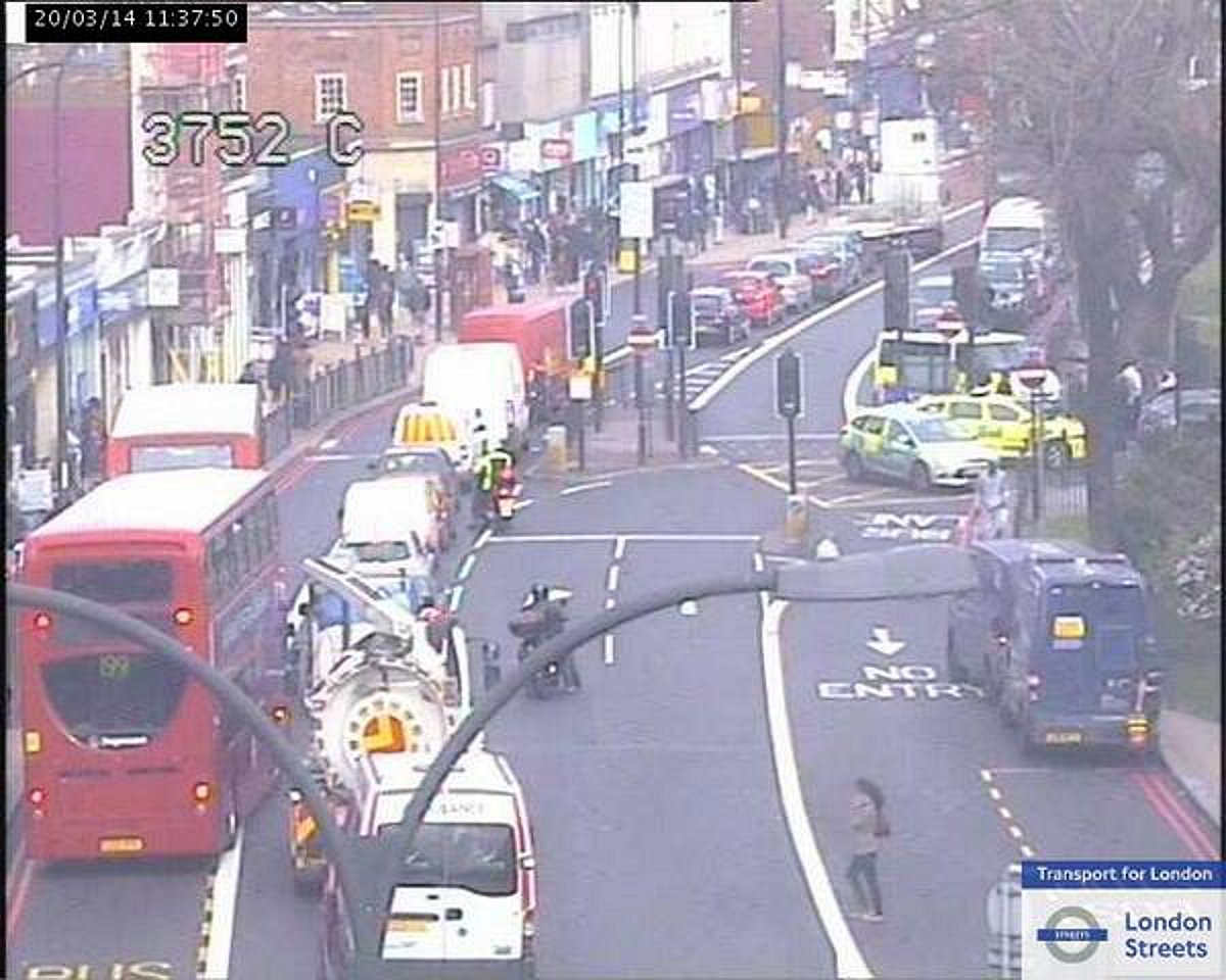 The scene at the Catford Gyratory, picture courtesy of TFL Traffic News