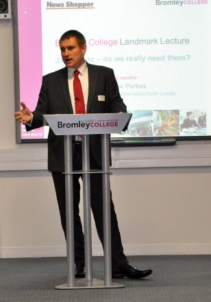 Andy Parkes gives the Landmark Lecture last Wednesday
