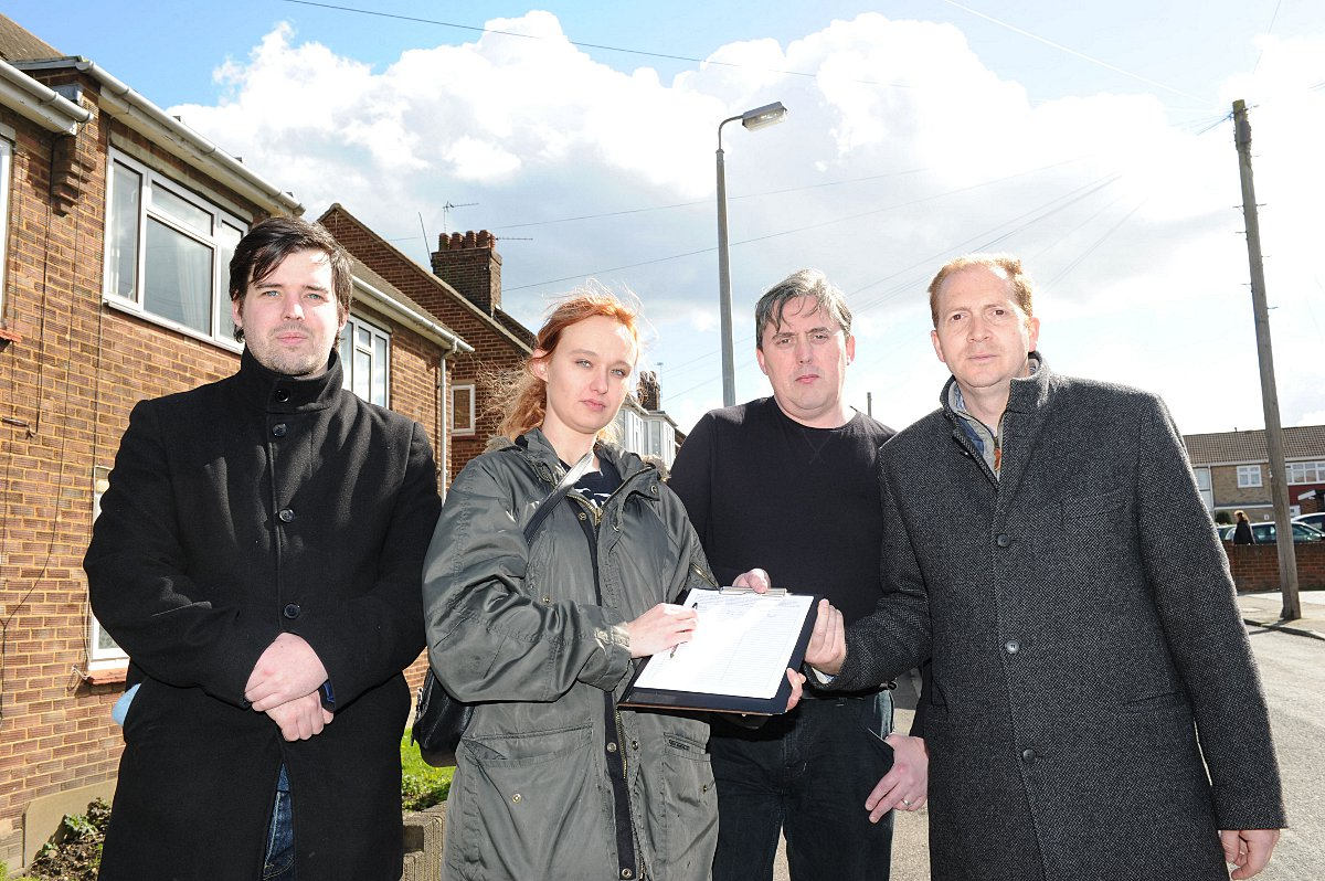 Coun Doran (second from left) with the petition and (left to right) Myles Nester, Mark Maddison and Labour Parliamentary candidate for Dartford Simon Thompson.