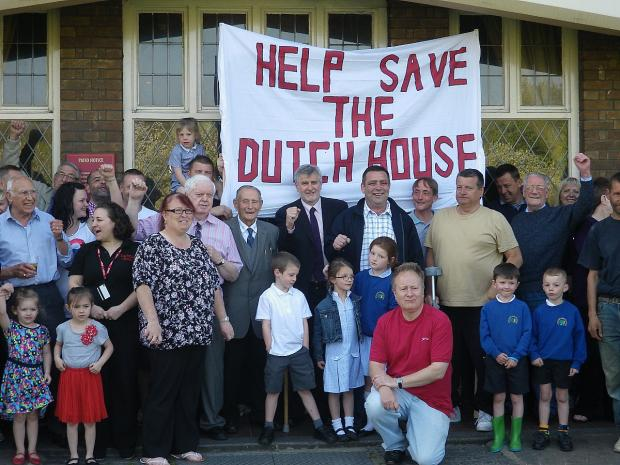 Protesters against plans to turn the Dutch House pub into a McDonald's in May 2013