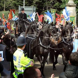 News Shopper: Horses in Millwall colours for Bob Crow funeral