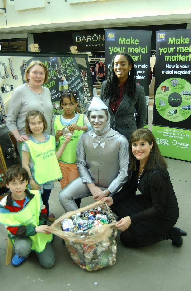 News Shopper: Pupils from Myatt Garden Primary School helped launch recycling awareness campaign, pictured in front of their magnetic sculpture