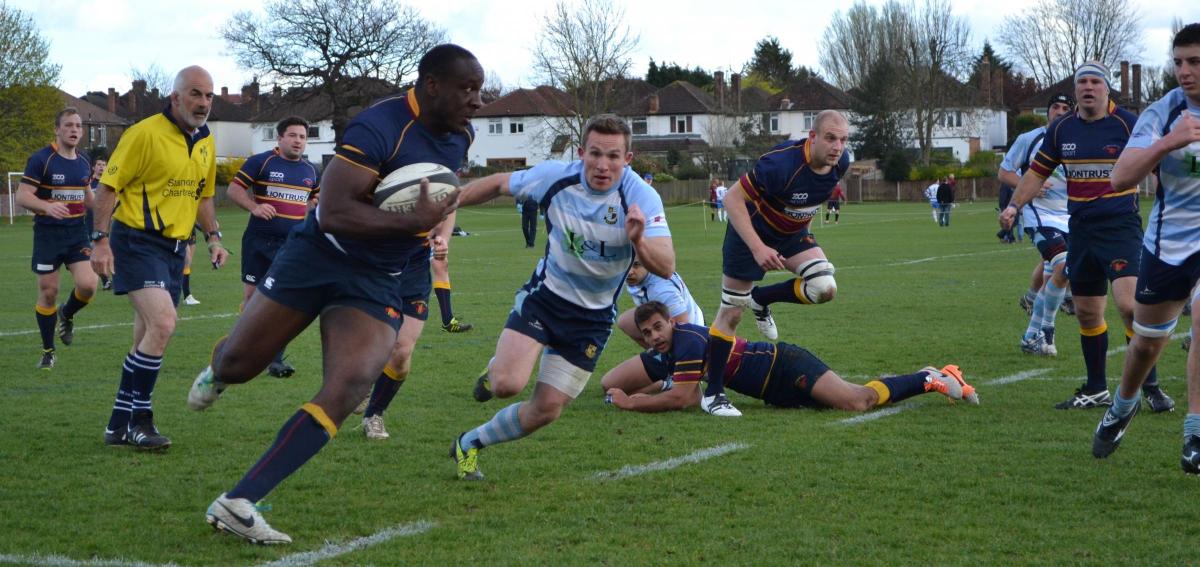 News Shopper: Old Colfeians forward Bamidele Agorioge leads the charge against the Warlingham defence