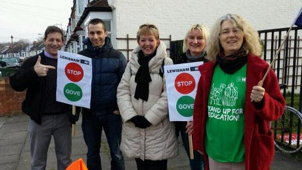 News Shopper: A picket at Ladywell Fields