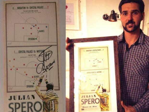 News Shopper: Julian Speroni with his framed poster.