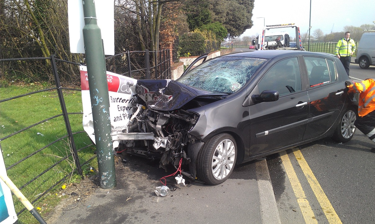 PICTURED- Smashed up cars on Bourne Road in Bexley recovered after crash