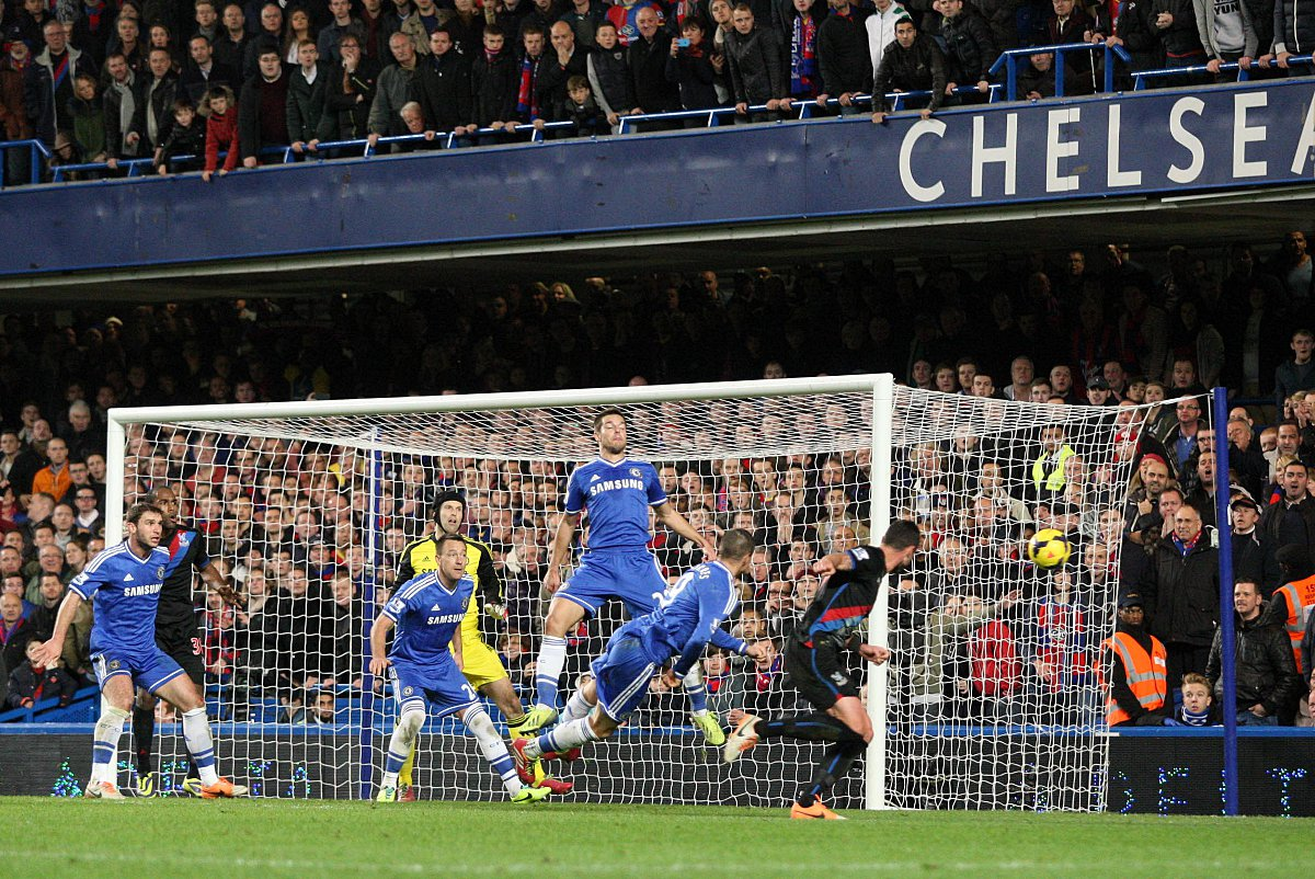 Last time out: Damien Delaney goes close at the Bridge in Palace's 2-1 defeat