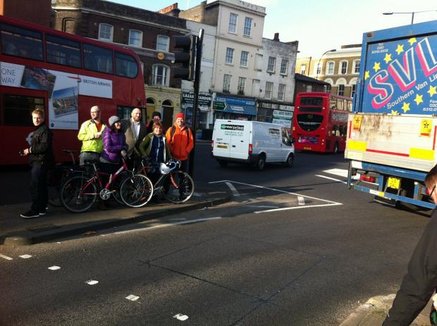 News Shopper: Darren Johnson and cyclists brave Deptford's rush hour traffic