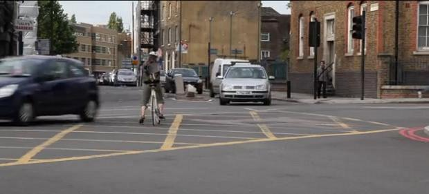 News Shopper: Near miss - a still from the Lewisham Cyclists Deals Gateway video