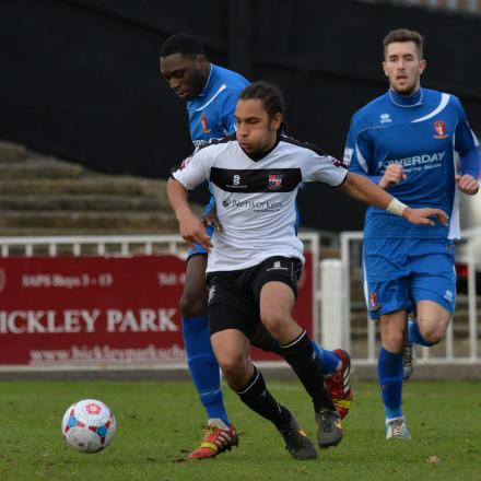 Brendan Kiernan (above) delivered the assist for Bromley's equaliser. Picture by Keith Gillard.