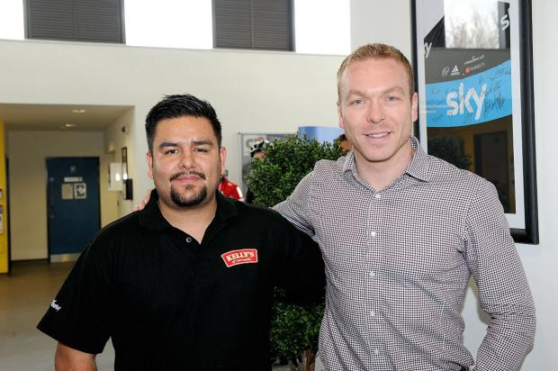 Sir Chris Hoy at the Cyclopark Cafe with cafe owner Julian Ramirez