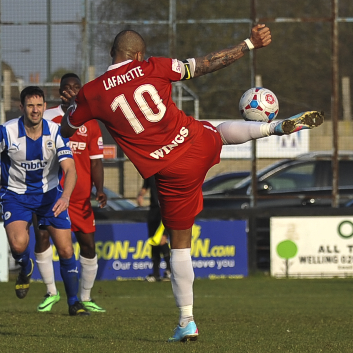 News Shopper: Ross Lafayette volleys in the second goal