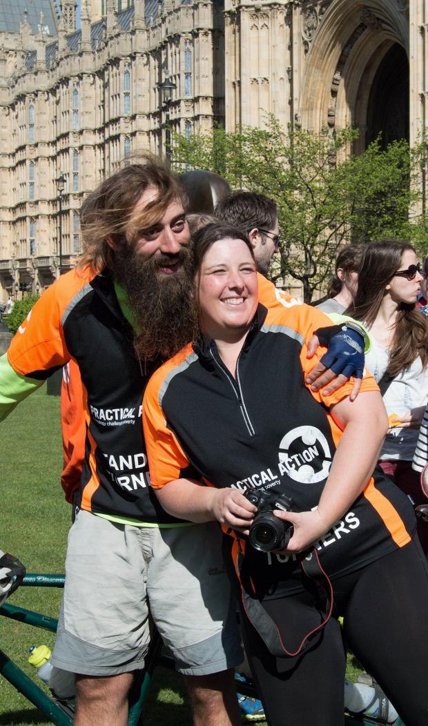 News Shopper: Kat and Steve outside Westminster at the end of their journey.