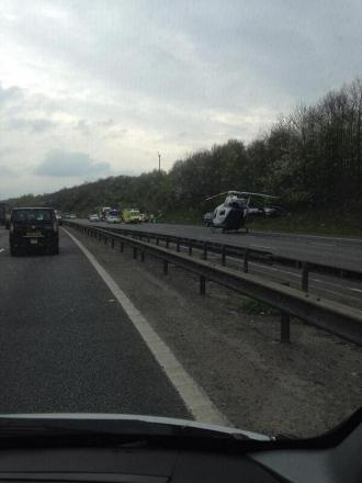 The scene of the crash this afternoon