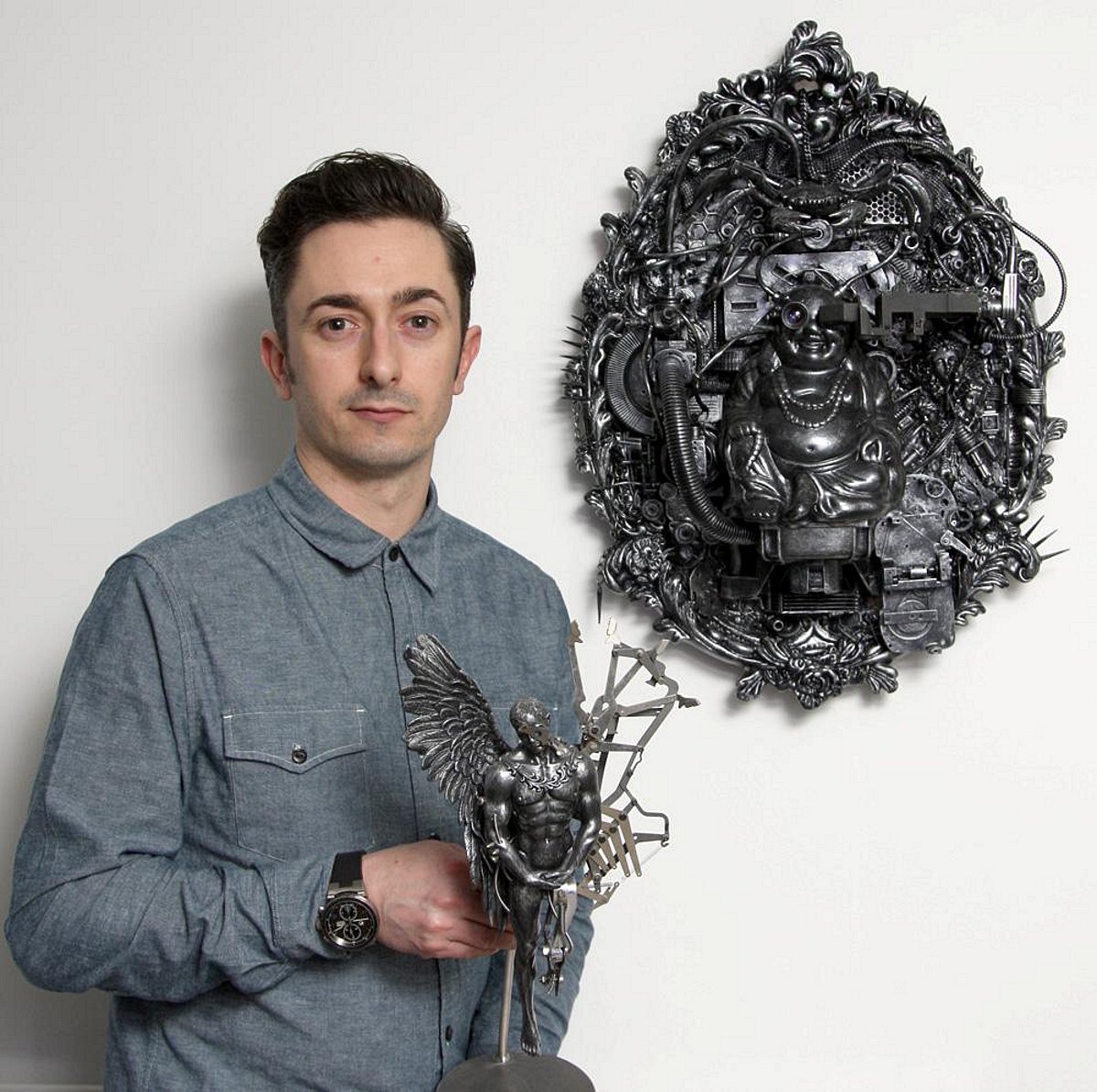 PICTURED: Dartford engineer creates sculptures out of fruit bowls and ceiling fans