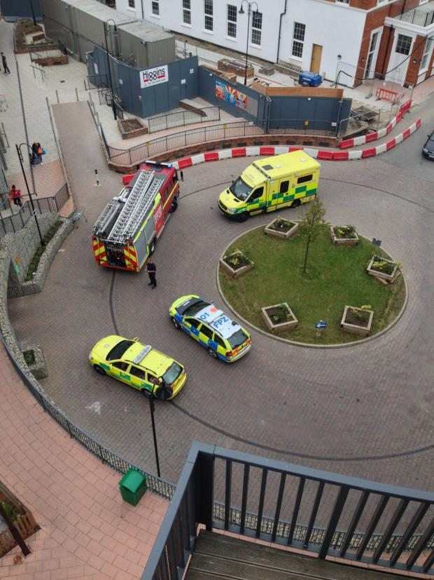 News Shopper: Emergency services at the Town Hall flats last Thursday (picture by Piotr Tuszynski).