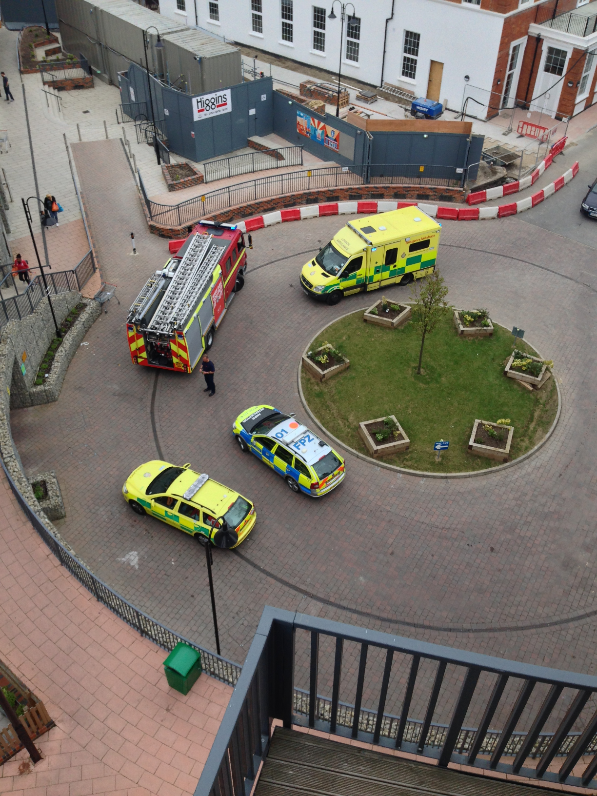 Emergency services at the Town Hall flats last Thursday (picture by Piotr Tuszynski).