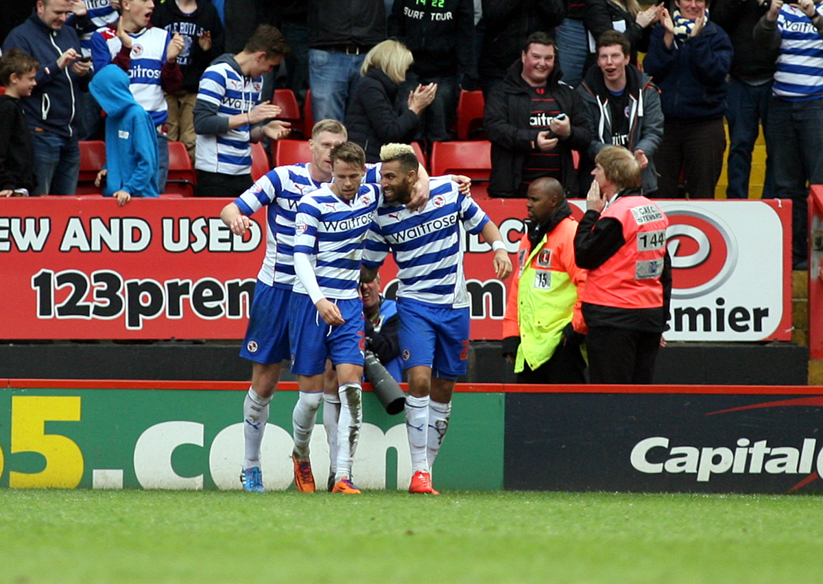 Danny Williams is congratulated after opening the scoring. Pictures by Edmund Boyden.