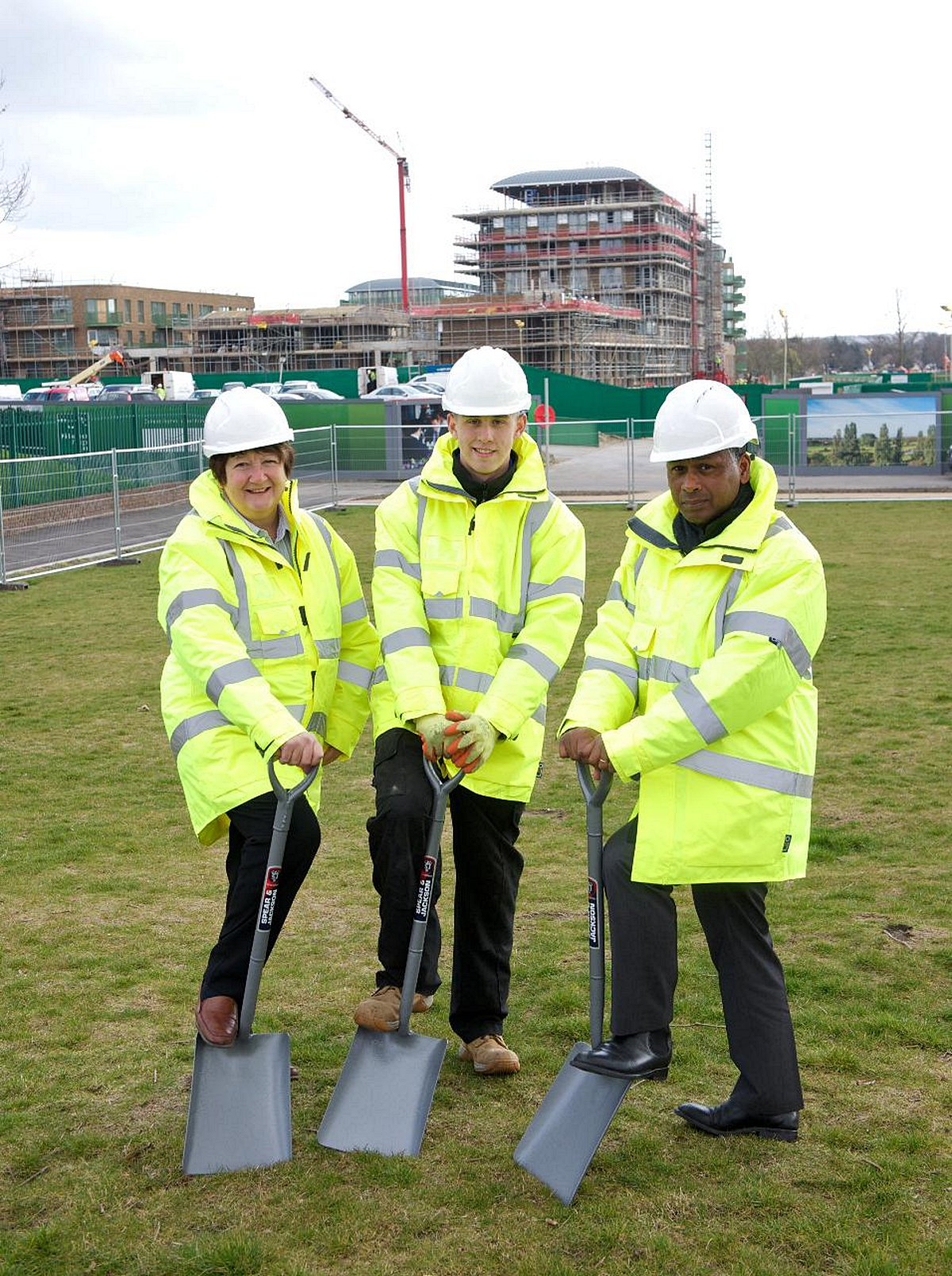 Work begins on Kidbrooke Construction Skills Centre, pictured L to R Councillor Denise Hyland,  construction apprentice Perry Farrugia and Principal of Greenwich Community College Gary Chinn