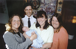 David Hagerty, Anne Sharpe, baby Simon with mum Val and Mandy Carter