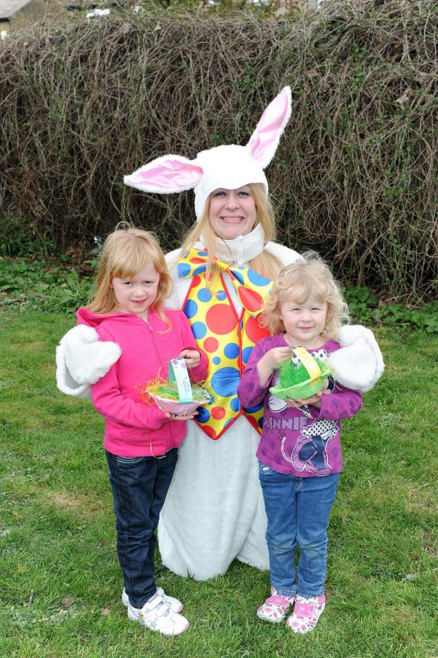 News Shopper: Easter Bunny- Laura Haggis with Hayley Van Dort 4, Ravi Bhat 6, Vidhya Bhat 3