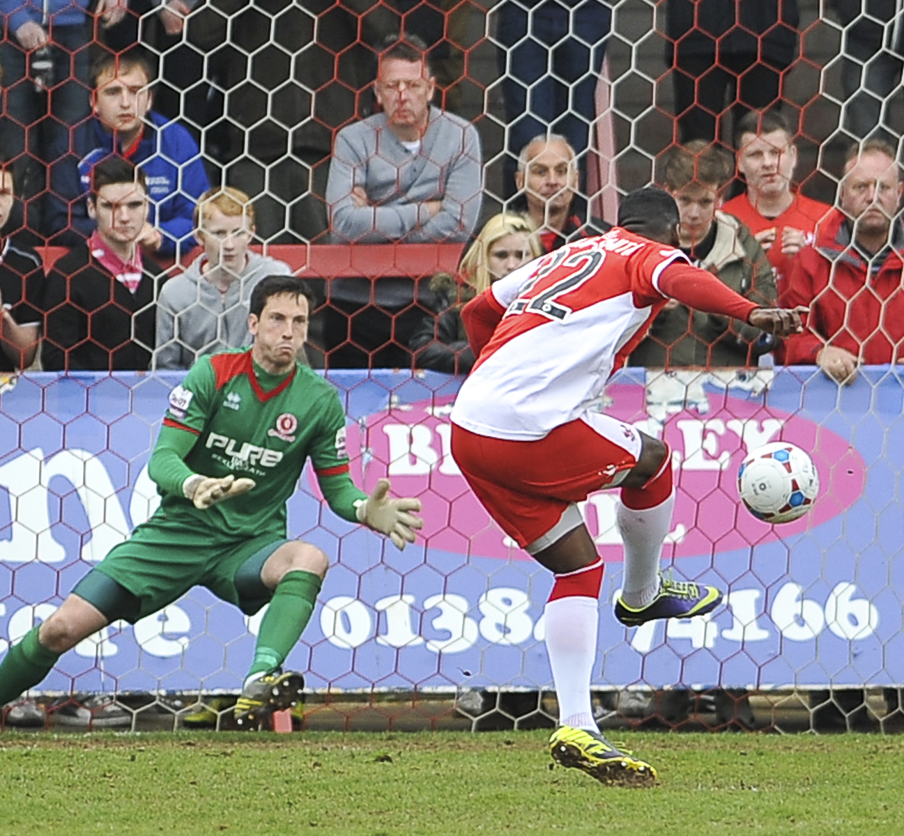 Lee Butcher saves Amari Morgan-Smith's penalty. Picture by Dave Budden.