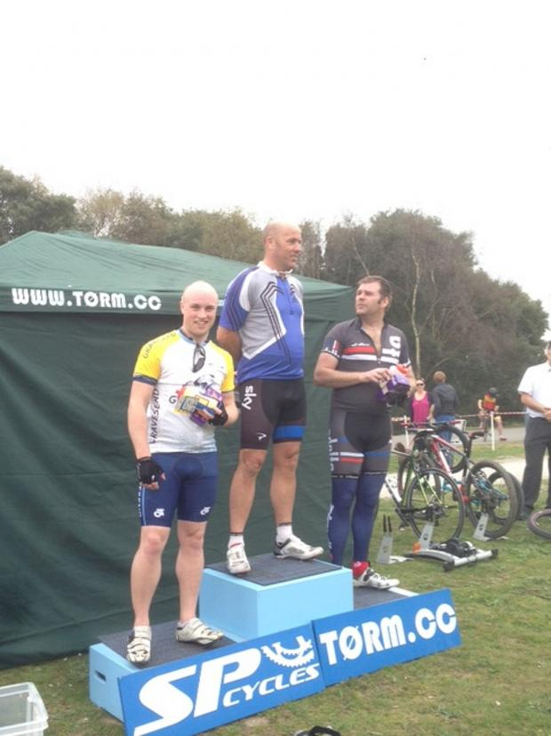 News Shopper: Andrew Webster (left) on the podium for second place