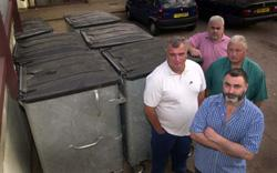 John Lee, Terry Keane, Alan Landers and Steve Goldhill next to bins in South Hill Court