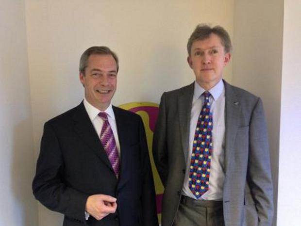 News Shopper: Councillor Julian Grainger, of the Chelsfield and Pratts Bottom ward, pictured with Nigel Farage