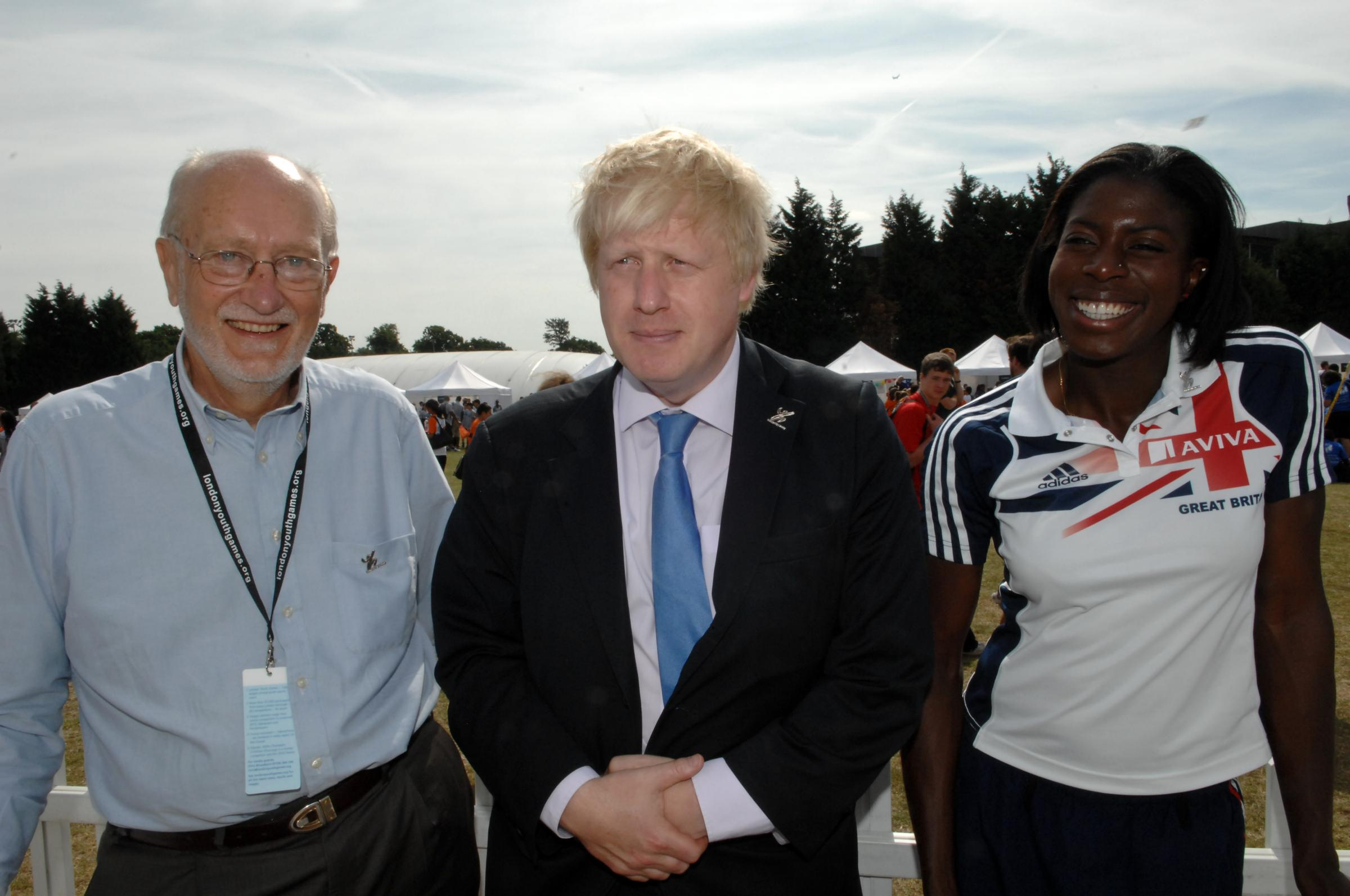 Anthony Kendall (left) with London mayor Boris Johnson and world 400m champion Christine Ohuruogo