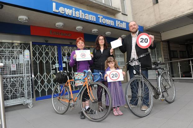 Calling for a borough-wide limit - Jane Davis from Lewisham Cyclists, Clare Griffiths, her daughter Claudia, 5, and Cllr Darren Johnson